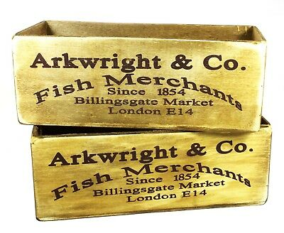 Two Vintage Rustic Style 'Arkwright & Co Fish Merchants' Wooden Crate Boxes