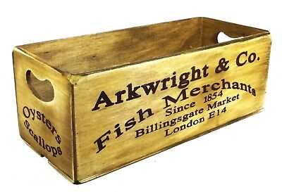 Vintage Rustic Style 'Arkwright & Co Fish Merchants' Wooden Crate Box