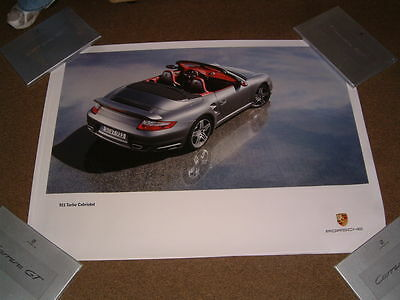 Porsche Factory Issued Showroom Poster Of 911 Turbo Cab Rear/side Shot (No.62)