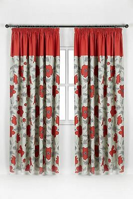 Luxury Pair of Floral Pencil Pleat Blackout Curtains Ready Made Free Tiebacks