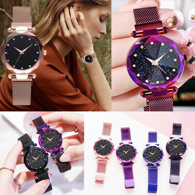Starry Sky Watch Magnet Stainless Steel Strap Free Buckle Women XMAS Gifts UK