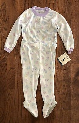 NWT Vintage Carter's Girls Size 18-24m Two Piece Snap Pajamas PJs Footed Floral