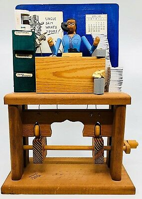 VTG WOODY JONES Mechanical Amusements TAX GUY Man Wood Automata Diorama USA 1989