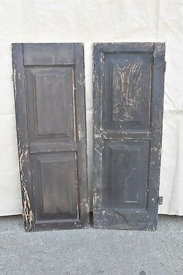 Antique 1880's SOLID WOOD PANELED SHUTTERS w HINGES & LOCKING MECHANISM #06405