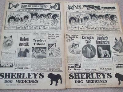 2 x OUR DOGS Weekly Journal 1943 TRAINING WAR DOGS + NEWS DOG SHOWS