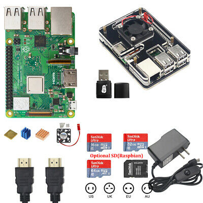 NEW Raspberry Pi 3 Model B+ Starter Kit +5V Power 6-Layer Acrylic Case SD Card