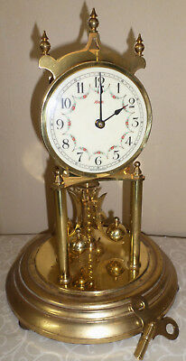 Nice Old Kundo German Brass 400 Day Anniversary Torsion Mantel Clock Project!