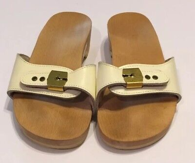 ee30476a9a9e Vtg Dr Scholls White Wood Exercise Sandals Shoes Womens 9 Made In Austria