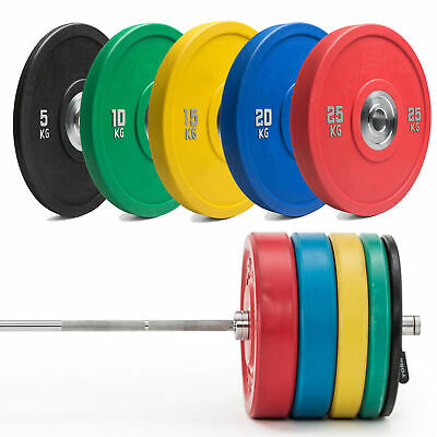 TnP Coloured Olympic Bumper Weight Lifting Plates - 5kg 10kg 15kg 20kg 25kg