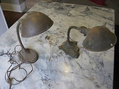 Pair of Antique Gooseneck Cast Iron ART DECO Desk Lamps Table Light Vintage