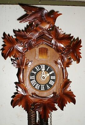 Very Nice Working German Black Forest Deeply Carved Traditional Cuckoo Clock!