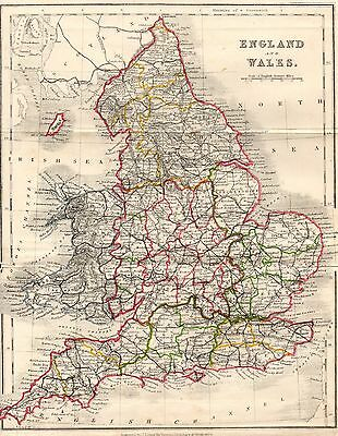 Antique Colour Map, British Isles, England And Wales, Counties, 1868