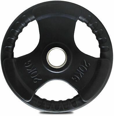 TnP Rubber Olympic Weight Plates Tri Grip for Dumbbell Barbell EZ Curl Bar 20Kg