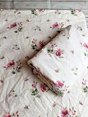 Full Sheet Set Flat and Fitted Country Cottage Roses Pink Shabby Chic