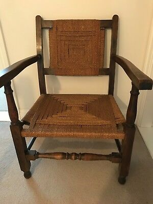 Antique Victorian Vintage Occasional Chair with seagrass seat Unusual Piece