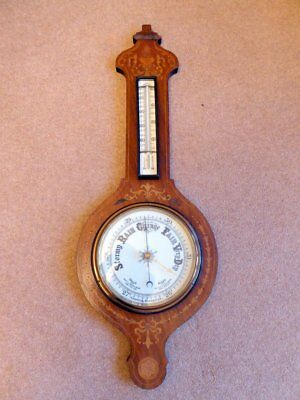 "Antique Aneroid Barometer With Marquetry Inlaid Walnut Case ~ 34"" X 12"""
