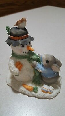 My Blushing Bunnies Figurine Friendship Puts a Smile on your Face Bunny Snowman
