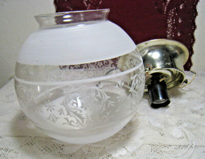 "Vintage Round Glass Globe Ceiling Light Frosted Swirl Design Center 3"" Fitter"