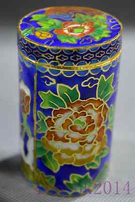 China Collectable Cloisonne Carving Beauty Flower Desk Old Unique Toothpick Box