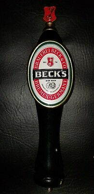 """RARE Beck's Large 12"""" Wood Tap Handle COLLECTIBLE!"""