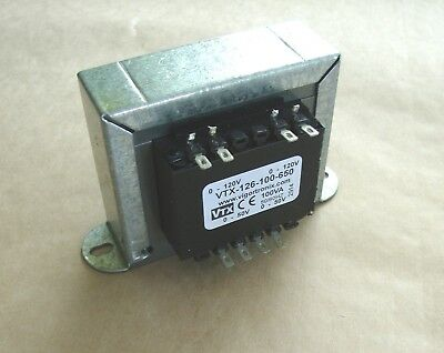 100VA 50V + 50V Mains Chassis Transformer 230V or 115V  VTX-126-100-650