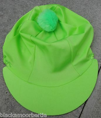 Riding Hat Silk skull cap cover PLAIN LIME GREEN with OR without pompom