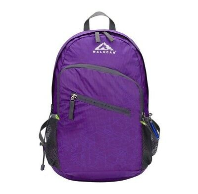 Walucan 20L Lightweight Foldable Backpack Travel Hiking Daypack Breathable Purpl