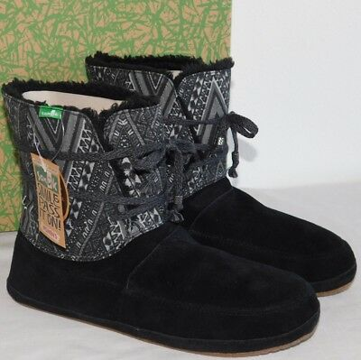 e110142be7dd55 New Womens 11 Sanuk Soulshine Chill Black Surfer Pull On Wrap Cuff Bootie  Boots