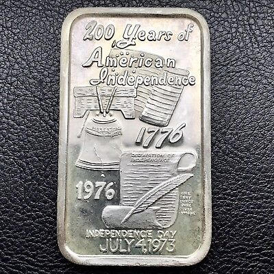 200 Yrs. Americas Independence 4th Of July 1 Troy oz .999 Fine Silver Bar (0252)
