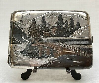 Vintage Japanese Sterling Silver & Mixed Metal Cigarette Case Signed