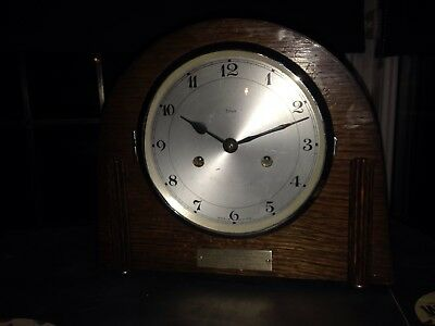 vintage antique Art Deco  enfield mantle clock working 1939 plaque on front