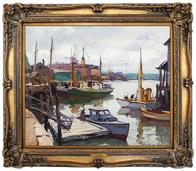 EMILE A. GRUPPE Oil Painting On Canvas Gloucester Harbor Signed Artwork Antique