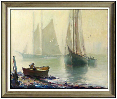 EMILE A. GRUPPE Large Original Gloucester Harbor Painting Oil On Canvas Signed