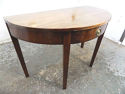 demi lune,mahogany,table,drawer,square,tapered legs,hall table,antique,georgian