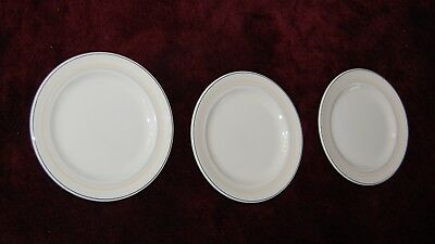 3-Pc Set of RMS Queen Mary Crescent Bread/Salad Plates, Maddock Ivory Ware, VGC