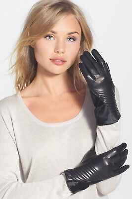 Nwt! Womens Vince Camuto Leather & Genuine Calf Hair Gloves Black Size Small