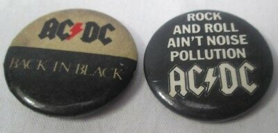 AC/DC 2 X Vintage Original Early 1980s Badges Pins Buttons Heavy Metal Rock