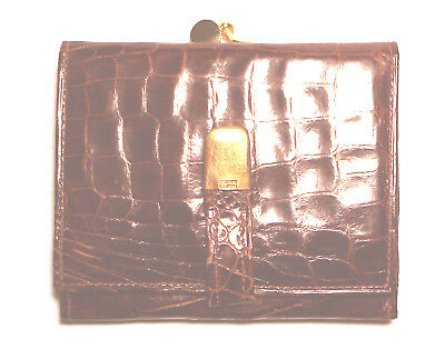 40's Genuine CROCODILE Yacare INDUSTRIA ARGENTINA 18K Gold Plated TRIFOLD WALLET