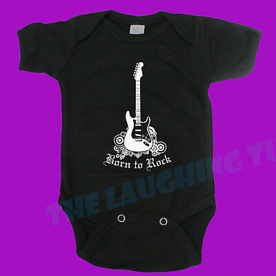 Baby One Piece Baby Romper Suit Clothing Boy Girl Funny Born To Rock. Band Music