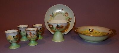 OLD Signed Hand Painted Rooster Chicken Chicks Breakfast Set Egg Cups Bowl +  E
