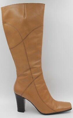 ab9188b6e56 NINE WEST Zinno Women Block Heel Knee High Fashion Boots Size 8.5M Brown  Leather