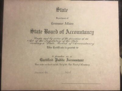 Certified Public Accountant Diploma Certificate. Comes Blank Fill In Own Info