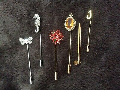 LOT- vintage stick pins... golf club, seahorse, butterfly, topaz,and xmas