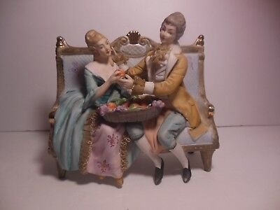 Norleans Japan Figurine Couple On Bench Sharing Fruit Big 6 1/2 Inch Tall