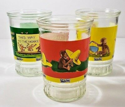 Lot of 3 Vintage Welch's Curious George Jelly Jars/glasses without Lids #1 4 6