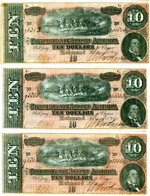 1864 $10 Confederate Artillery Consecutively Numbered Set Of 3 ~Reproduction~