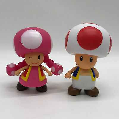 "2X Super Mario Bros. Toad & Toadette PVC Figure Plastic Toy Doll 4"" Collectible"
