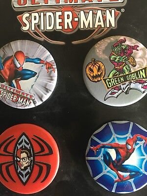 2002 Marvel Comic Characters 4 SPIDERMAN Pin-Back Buttons ULTIMATE Spider-Man