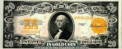 1922 $20 Us Gold Note ~~Reproduction~~