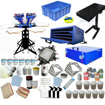 83ad9566 Full Set 6 Color Screen Printing Kit with Flash Dryer/ Expoxure Unit Press  Tools